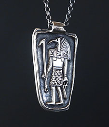 Telos Magic Thoth Pendant Silver Front Side View