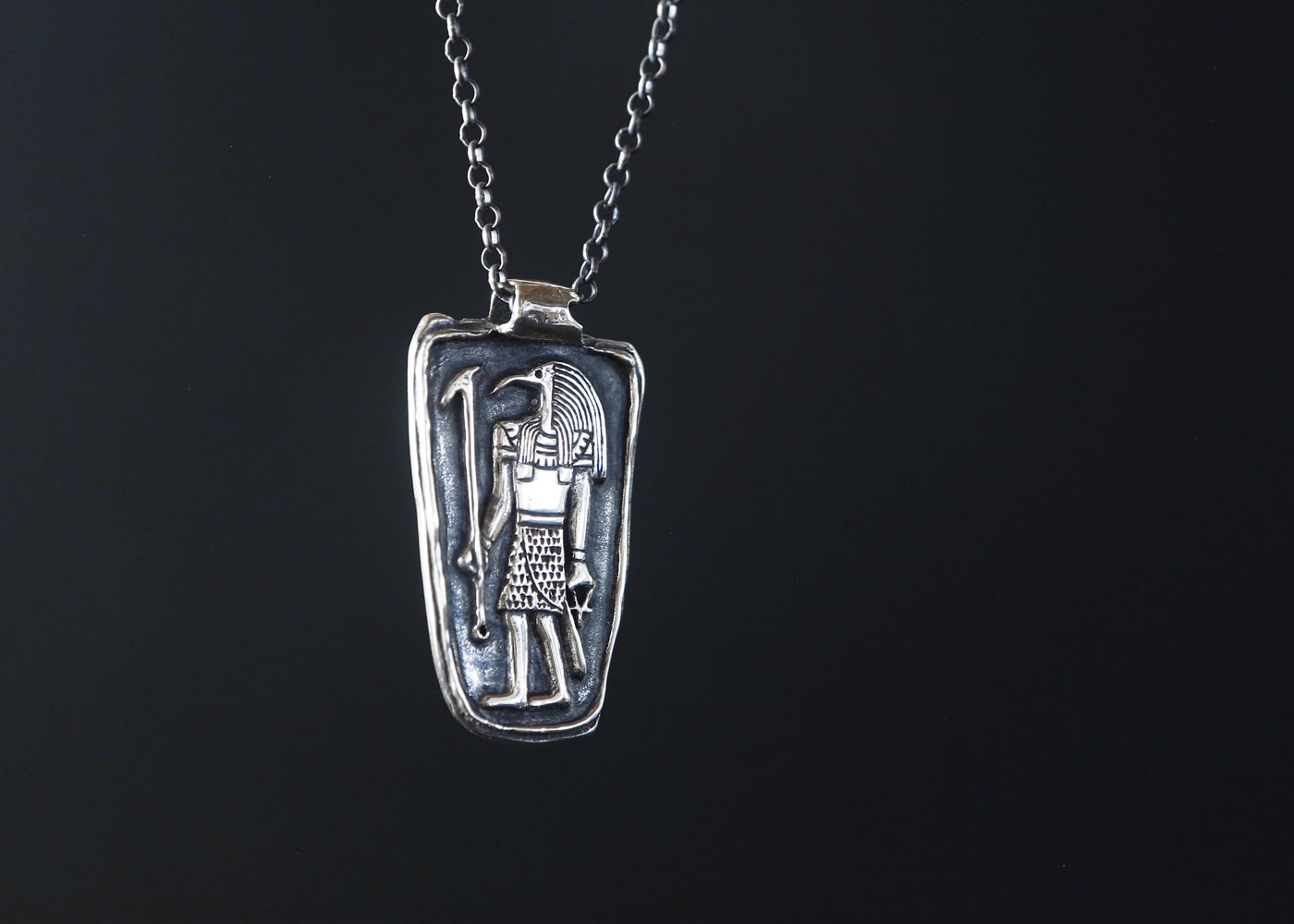Telos Magic Thoth Pendant Front Silver Side View