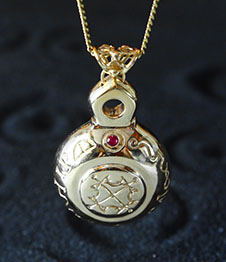 Telos Magic Sun Talisman Gold plated Silver Front View