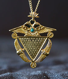 Telos Magic Abracadabra Amulet Pendant With Gold Chain