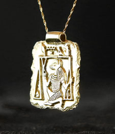 Telos Magic Anubis Amulet Gold Side View