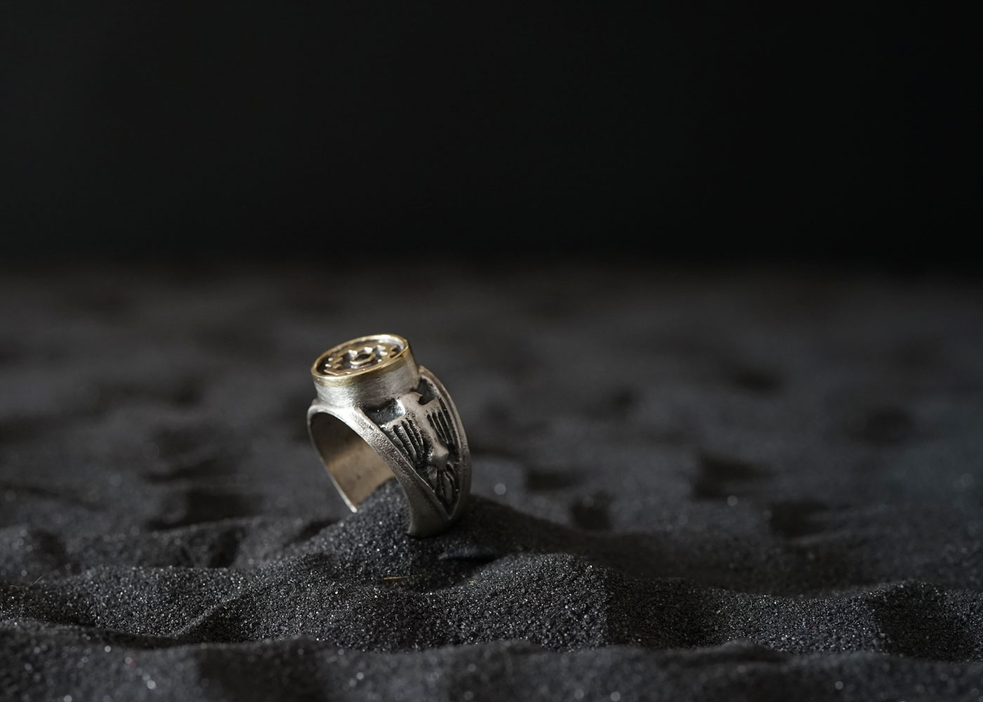 Telos Magic The Chakana Ring Silver With Gold Side Front View