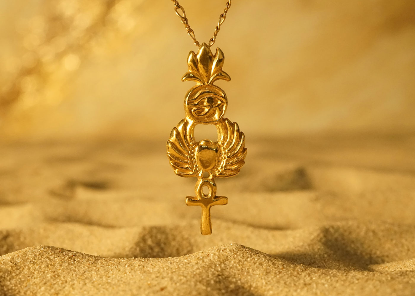 Telos Magic Gold Egyptian Symbols Pendant Front