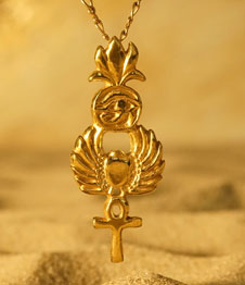 Telos Magic Gold Egyptian Symbols Pendant Front Sand