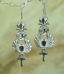 Telos Magic Egyptian Symbol Earring SIlver Front View