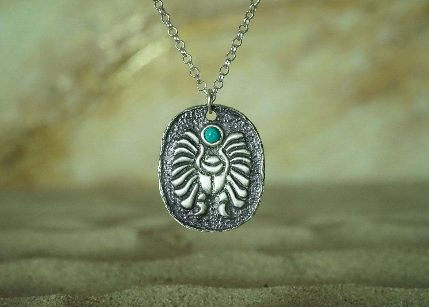 Telos Magic Egyptian Turquoise Scarab Silver Front Sand