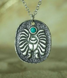 Telos Magic Egyptian Turquoise Scarab Silver Front Sand