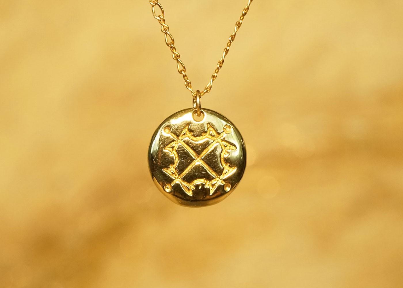 Telos Magic Sun Sigil Talisman Gold Front
